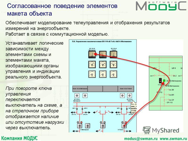 Согласованное поведение элементов макета объекта Обеспечивает моделирование телеуправления и отображения результатов измерений на энергообъекте. Работает в связке с коммутационной моделью. Устанавливает логические зависимоcти между элементами схемы и
