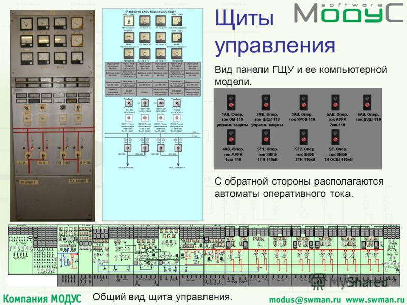Щиты управления Вид панели ГЩУ и ее компьютерной модели. Общий вид щита управления. С обратной стороны располагаются автоматы оперативного тока.