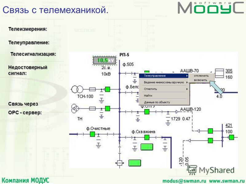 Телеуправление: Телеуправление: Телесигнализация: Телеизмерения: Телеизмерения: Связь через OPC - сервер: Связь с телемеханикой. Недостоверный сигнал: