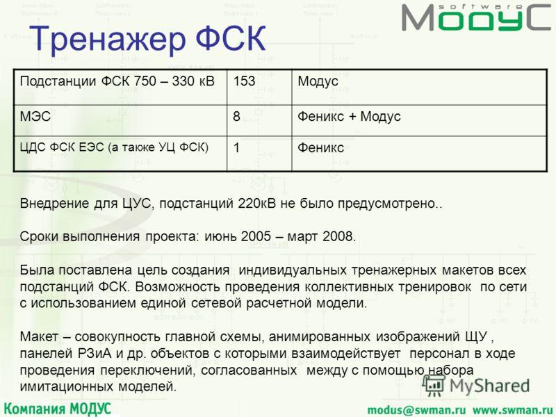 Тренажер ФСК Подстанции ФСК 750 – 330 кВ153Модус МЭС8Феникс + Модус ЦДС ФСК ЕЭС (а также УЦ ФСК) 1Феникс Внедрение для ЦУС, подстанций 220кВ не было предусмотрено.. Сроки выполнения проекта: июнь 2005 – март 2008. Была поставлена цель создания индиви