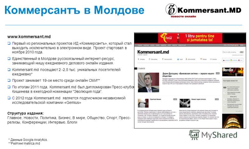 Коммерсантъ в Молдове www.kommersant.md Первый из региональных проектов ИД «Коммерсантъ», который стал выходить исключительно в электронном виде. Проект стартовал в ноябре 2010 года. Единственный в Молдове русскоязычный интернет-ресурс, занимающий ни