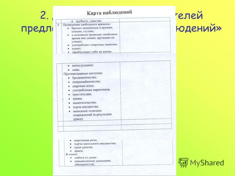 2. Для классных руководителей предлагаем вести «Карту наблюдений» за учащимися.