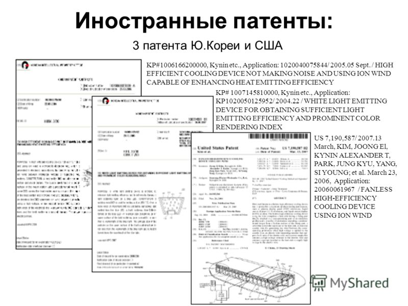 Иностранные патенты: 3 патента Ю.Кореи и США KP#1006166200000, Kynin etc., Application: 1020040075844/ 2005.05 Sept. / HIGH EFFICIENT COOLING DEVICE NOT MAKING NOISE AND USING ION WIND CAPABLE OF ENHANCING HEAT EMITTING EFFICIENCY KP# 1007145810000,