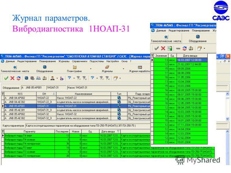25 Журнал параметров. Вибродиагностика 1НОАП-31