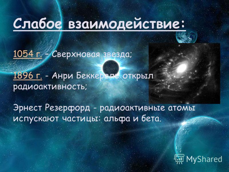 Слабое взаимодействие: 1054 г. – Сверхновая звезда; 1896 г. - Анри Беккерель открыл радиоактивность; Эрнест Резерфорд - радиоактивные атомы испускают частицы: альфа и бета.
