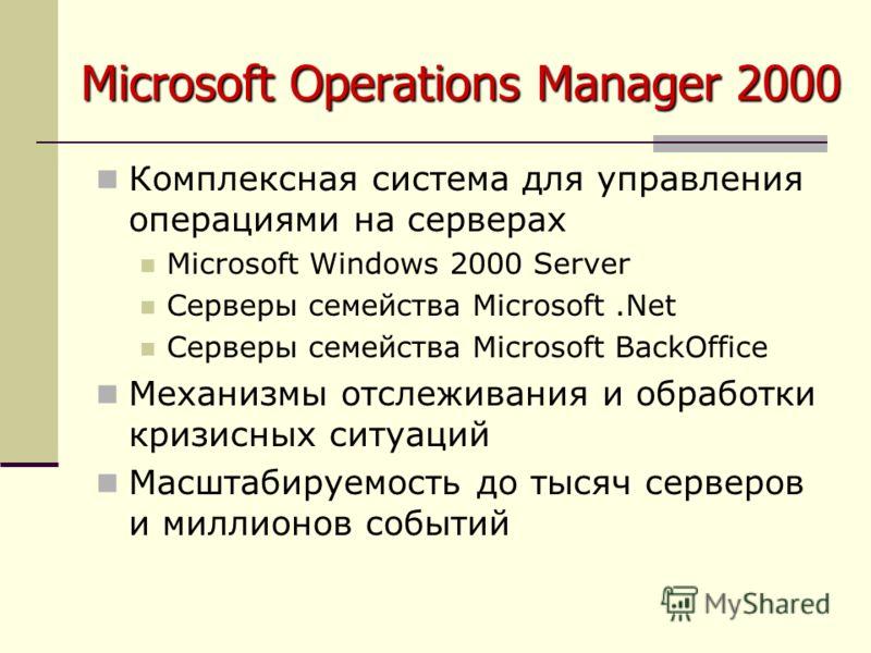 Microsoft Operations Manager 2000 Комплексная система для управления операциями на серверах Microsoft Windows 2000 Server Серверы семейства Microsoft.Net Серверы семейства Microsoft BackOffice Механизмы отслеживания и обработки кризисных ситуаций Мас