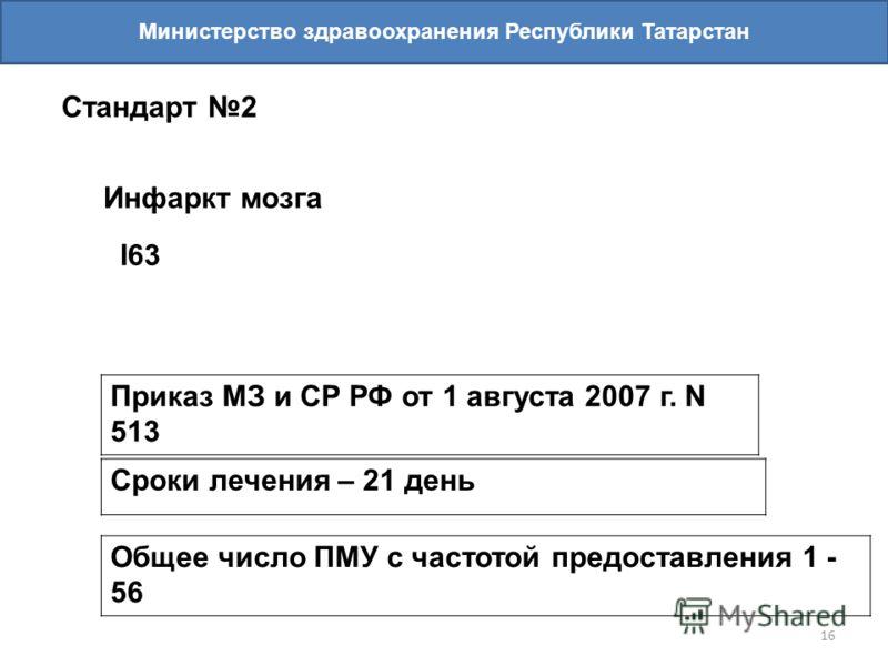16 Министерство здравоохранения Республики Татарстан Стандарт 2 Инфаркт мозга I63 Приказ МЗ и СР РФ от 1 августа 2007 г. N 513 Сроки лечения – 21 день Общее число ПМУ с частотой предоставления 1 - 56