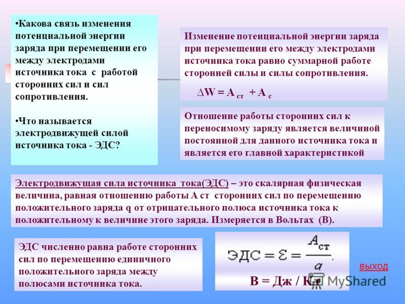 Какова связь изменения потенциальной энергии заряда при перемещении его между электродами источника тока с работой сторонних сил и сил сопротивления. Что называется электродвижущей силой источника тока - ЭДС? Электродвижущая сила источника тока(ЭДС)