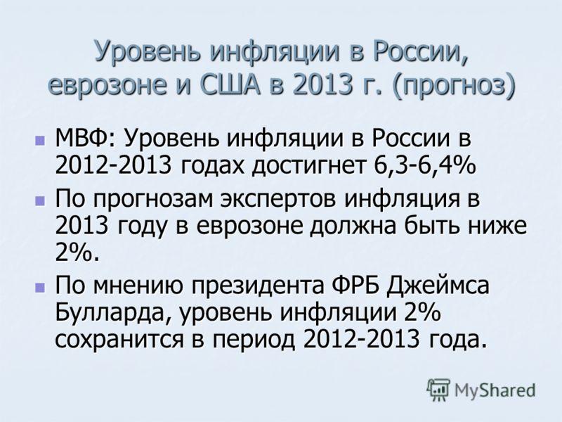 Уровень инфляции в России, еврозоне и США в 2013 г. (прогноз) МВФ: Уровень инфляции в России в 2012-2013 годах достигнет 6,3-6,4% МВФ: Уровень инфляции в России в 2012-2013 годах достигнет 6,3-6,4% По прогнозам экспертов инфляция в 2013 году в еврозо