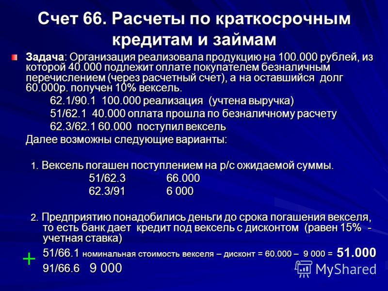 Счет 66. Расчеты по краткосрочным кредитам и займам Задача: Организация реализовала продукцию на 100.000 рублей, из которой 40.000 подлежит оплате покупателем безналичным перечислением (через расчетный счет), а на оставшийся долг 60.000р. получен 10%