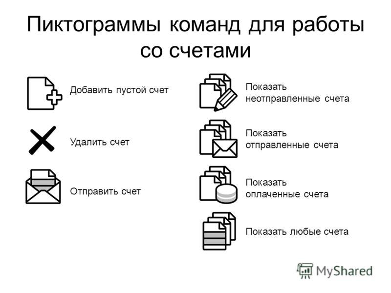 Пиктограммы команд для работы со счетами Добавить пустой счет Удалить счет Отправить счет Показать неотправленные счета Показать оплаченные счета Показать любые счета Показать отправленные счета