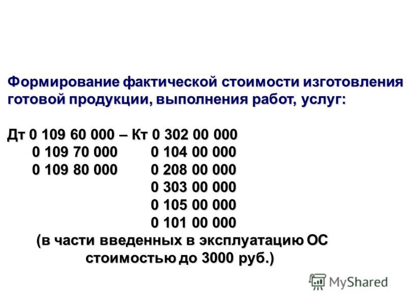 Формирование фактической стоимости изготовления готовой продукции, выполнения работ, услуг: Дт 0 109 60 000 – Кт 0 302 00 000 0 109 70 000 0 104 00 000 0 109 70 000 0 104 00 000 0 109 80 000 0 208 00 000 0 109 80 000 0 208 00 000 0 303 00 000 0 303 0
