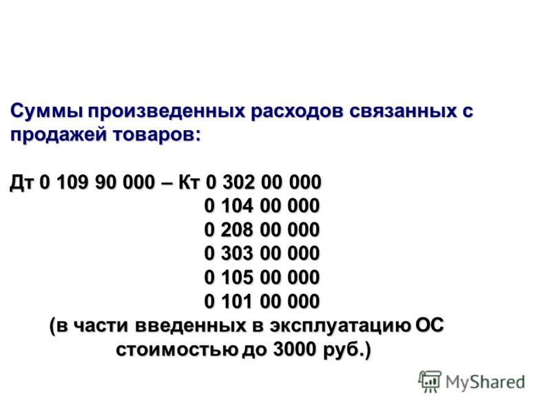 Суммы произведенных расходов связанных с продажей товаров: Дт 0 109 90 000 – Кт 0 302 00 000 0 104 00 000 0 104 00 000 0 208 00 000 0 208 00 000 0 303 00 000 0 303 00 000 0 105 00 000 0 105 00 000 0 101 00 000 0 101 00 000 (в части введенных в эксплу