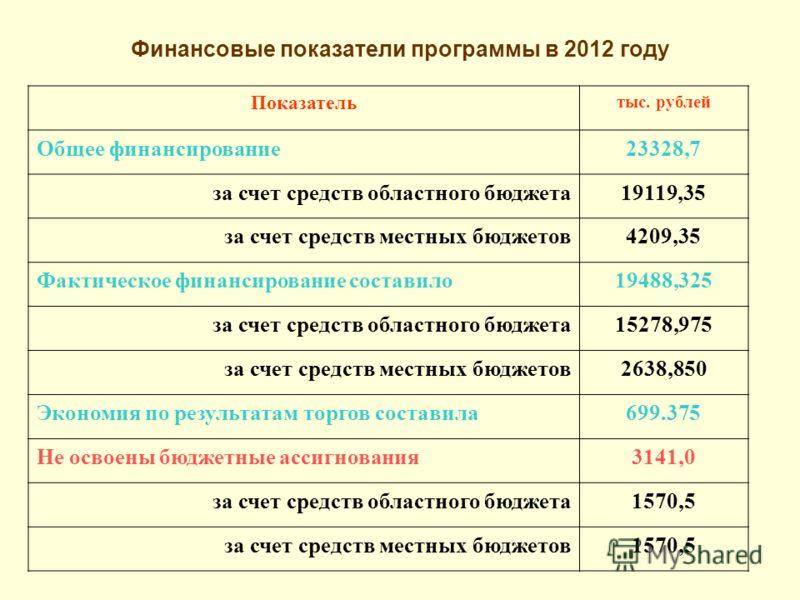 Финансовые показатели программы в 2012 году Показатель тыс. рублей Общее финансирование23328,7 за счет средств областного бюджета19119,35 за счет средств местных бюджетов4209,35 Фактическое финансирование составило19488,325 за счет средств областного