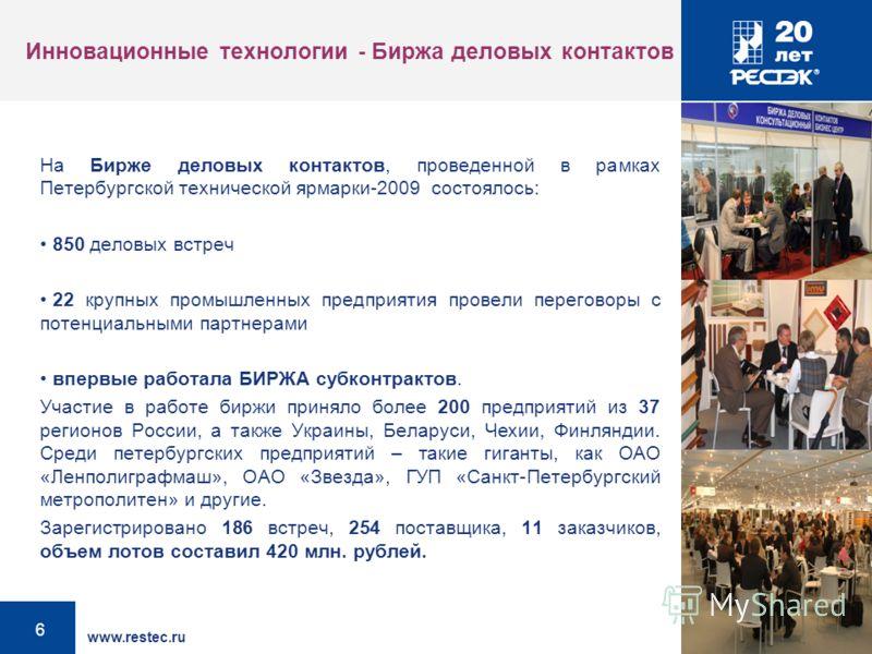 www.restec.ru 6 Инновационные технологии - Биржа деловых контактов На Бирже деловых контактов, проведенной в рамках Петербургской технической ярмарки-2009 состоялось: 850 деловых встреч 22 крупных промышленных предприятия провели переговоры с потенци