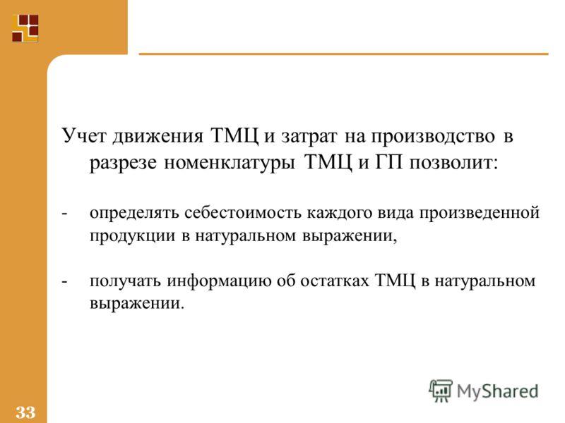 33 Учет движения ТМЦ и затрат на производство в разрезе номенклатуры ТМЦ и ГП позволит: -определять себестоимость каждого вида произведенной продукции в натуральном выражении, -получать информацию об остатках ТМЦ в натуральном выражении.