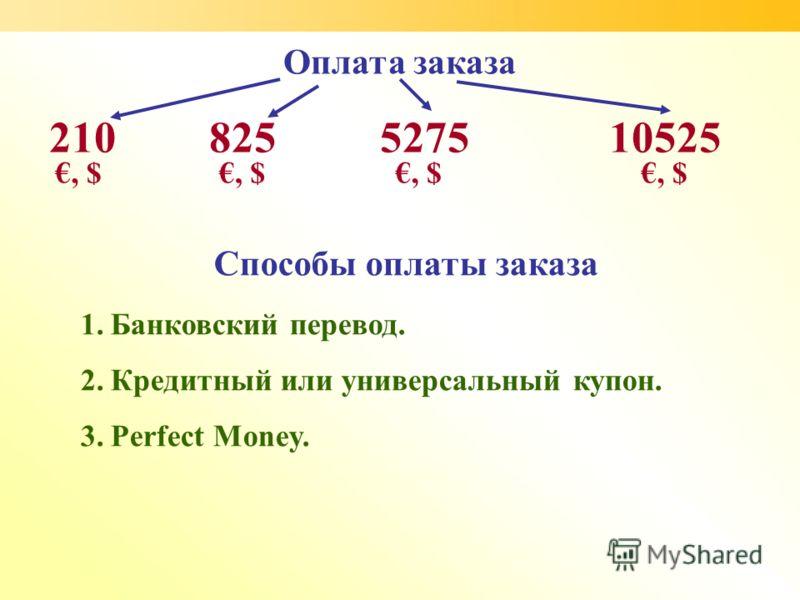 Оплата заказа 1.Банковский перевод. 2.Кредитный или универсальный купон. 3.Perfect Money. 210825 527510525 Способы оплаты заказа, $