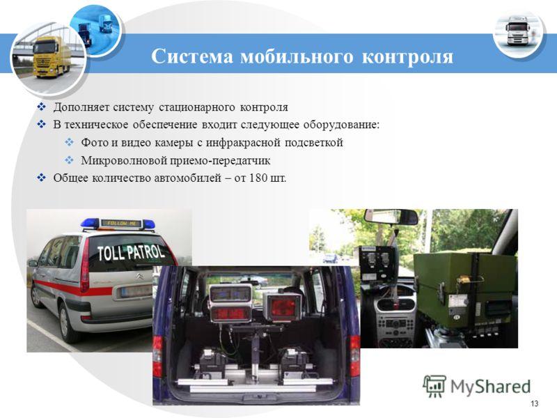 13 Система мобильного контроля Дополняет систему стационарного контроля В техническое обеспечение входит следующее оборудование: Фото и видео камеры с инфракрасной подсветкой Микроволновой приемо-передатчик Общее количество автомобилей – от 180 шт.
