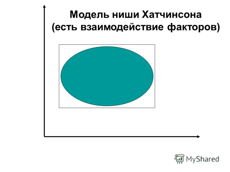 Модель ниши Хатчинсона (есть взаимодействие факторов)