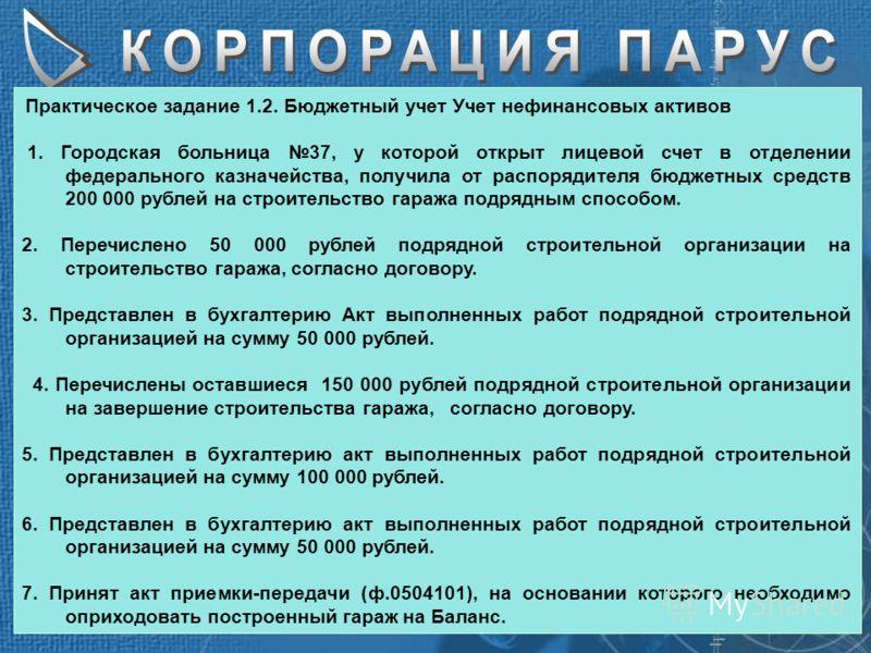 Практическое задание 1.2. Бюджетный учет Учет нефинансовых активов 1. Городская больница 37, у которой открыт лицевой счет в отделении федерального казначейства, получила от распорядителя бюджетных средств 200 000 рублей на строительство гаража подря