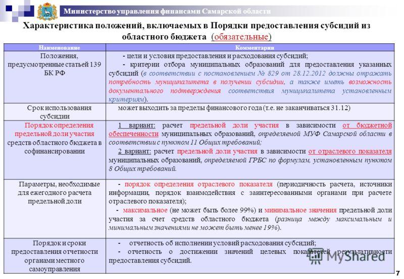 Министерство управления финансами Самарской области Характеристика положений, включаемых в Порядки предоставления субсидий из областного бюджета (обязательные) 7 НаименованиеКомментарии Положения, предусмотренные статьей 139 БК РФ - цели и условия пр