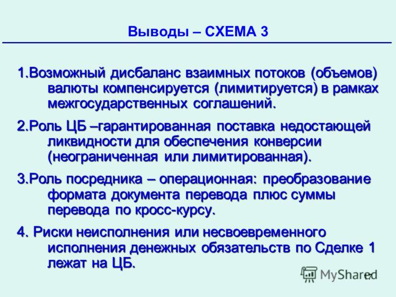 17 Банк России Выводы – СХЕМА 3 Октябрь 2009 1.Возможный дисбаланс взаимных потоков (объемов) валюты компенсируется (лимитируется) в рамках межгосударственных соглашений. 2.Роль ЦБ –гарантированная поставка недостающей ликвидности для обеспечения кон
