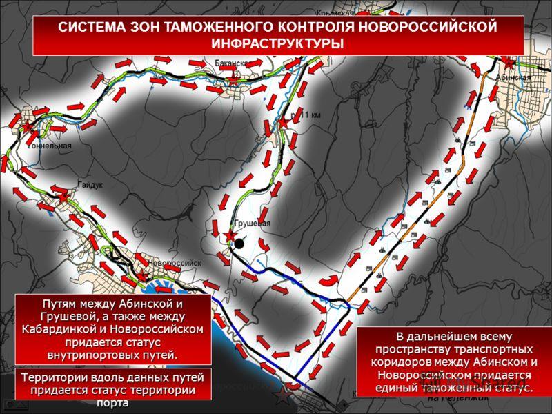 В дальнейшем всему пространству транспортных коридоров между Абинском и Новороссийском придается единый таможенный статус. Путям между Абинской и Грушевой, а также между Кабардинкой и Новороссийском придается статус внутрипортовых путей. Территории в
