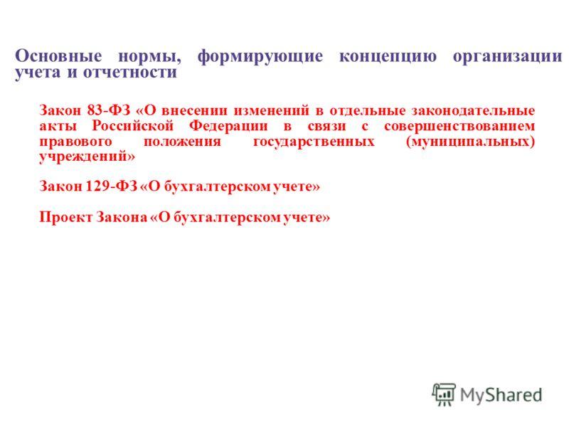 Основные нормы, формирующие концепцию организации учета и отчетности Закон 83-ФЗ «О внесении изменений в отдельные законодательные акты Российской Федерации в связи с совершенствованием правового положения государственных (муниципальных) учреждений»