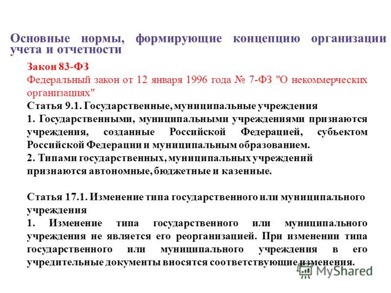 Основные нормы, формирующие концепцию организации учета и отчетности Закон 83-ФЗ Федеральный закон от 12 января 1996 года 7-ФЗ