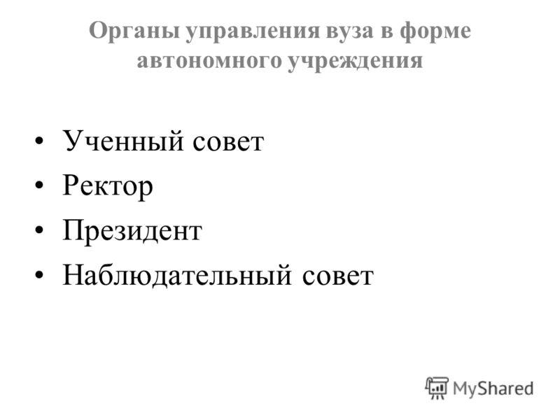 Органы управления вуза в форме автономного учреждения Ученный совет Ректор Президент Наблюдательный совет