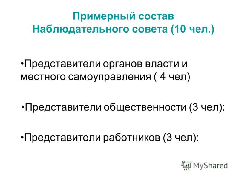 Примерный состав Наблюдательного совета (10 чел.) Представители органов власти и местного самоуправления ( 4 чел) Представители общественности (3 чел): Представители работников (3 чел):
