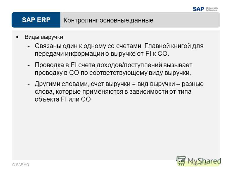 SAP ERP Page 8-13 © SAP AG Контролинг основные данные Виды выручки -Связаны один к одному со счетами Главной книгой для передачи информации о выручке от FI к СО. -Проводка в FI счета доходов/поступлений вызывает проводку в СО по соответствующему виду