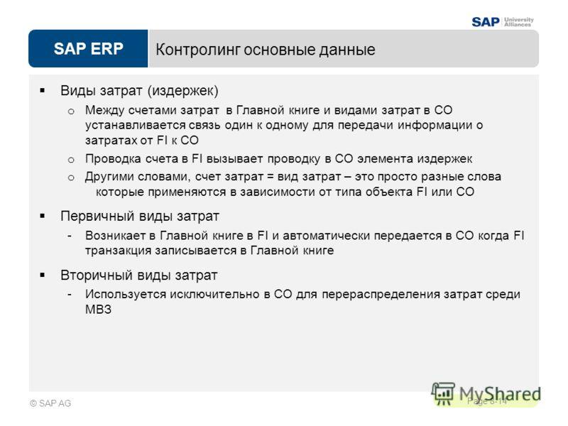 SAP ERP Page 8-14 © SAP AG Контролинг основные данные Виды затрат (издержек) o Между счетами затрат в Главной книге и видами затрат в CO устанавливается связь один к одному для передачи информации о затратах от FI к CO o Проводка счета в FI вызывает