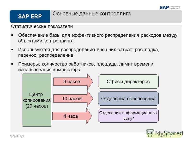 SAP ERP Page 8-16 © SAP AG Основные данные контроллига Статистические показатели Обеспечение базы для эффективного распределения расходов между объектами контроллинга Используются для распределение внешних затрат: раскладка, перенос, распределение Пр