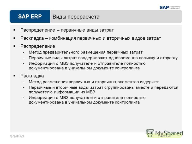 SAP ERP Page 8-21 © SAP AG Виды перерасчета Распределение – первичные виды затрат Раскладка – комбинация первичных и вторичных видов затрат Распределение -Метод предварительного размещения первичных затрат -Первичные виды затрат поддерживают одноврем