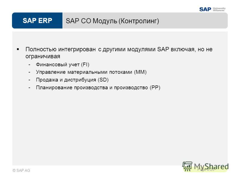 SAP ERP Page 8-26 © SAP AG SAP CO Модуль (Контролинг) Полностью интегрирован с другими модулями SAP включая, но не ограничивая -Финансовый учет (FI) -Управление материальными потоками (MM) -Продажа и дистрибуция (SD) -Планирование производства и прои