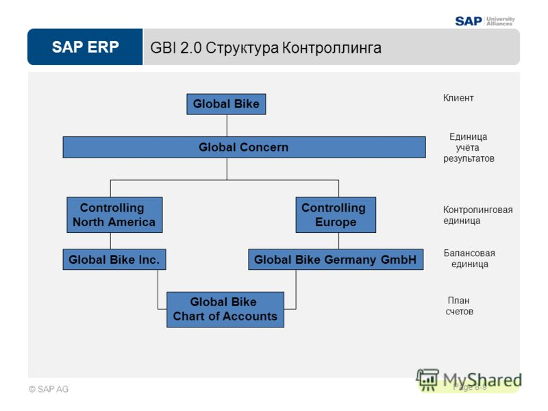 SAP ERP Page 8-9 © SAP AG Global Bike Chart of Accounts GBI 2.0 Структура Контроллинга Global Bike Клиент Балансовая единица План счетов Global Concern Единица учёта результатов Global Bike Inc.Global Bike Germany GmbH Controlling North America Contr