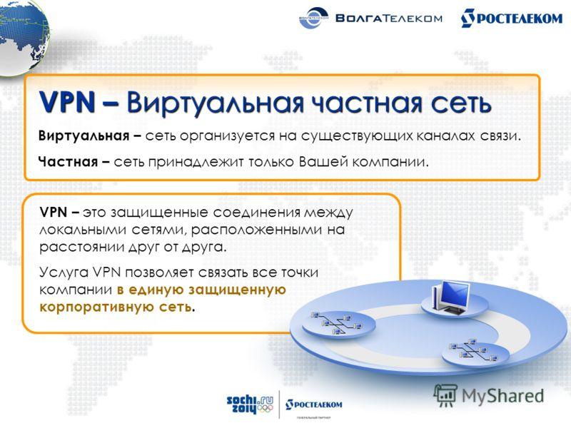 VPN – это защищенные соединения между локальными сетями, расположенными на расстоянии друг от друга. Услуга VPN позволяет связать все точки компании в единую защищенную корпоративную сеть. VPN – Виртуальная частная сеть Виртуальная – сеть организуетс