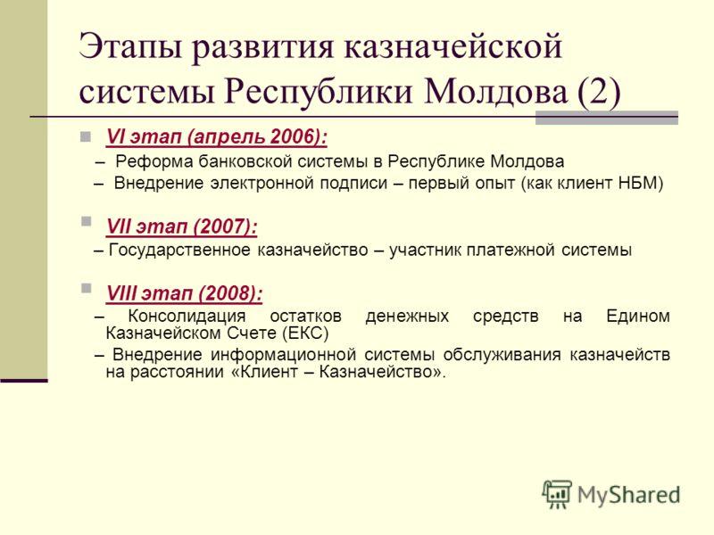 Этапы развития казначейской системы Республики Молдова (2) VI этап (апрель 2006): – Реформа банковской системы в Республике Молдова – Внедрение электронной подписи – первый опыт (как клиент НБМ) VII этап (2007): – Государственное казначейство – участ