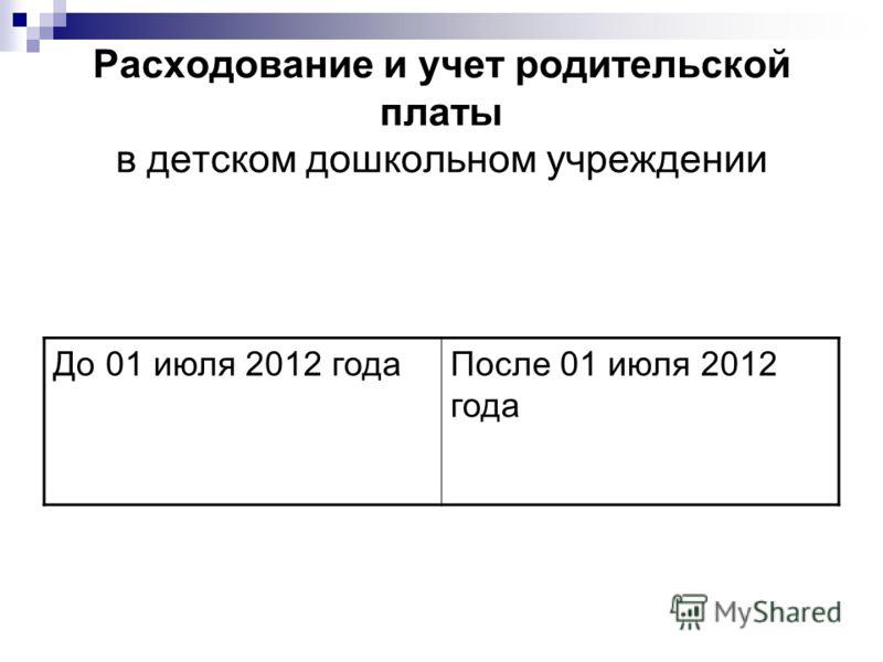 Расходование и учет родительской платы в детском дошкольном учреждении До 01 июля 2012 годаПосле 01 июля 2012 года