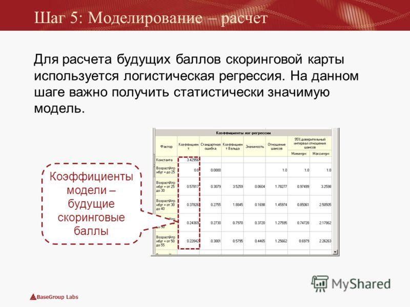 BaseGroup Labs Для расчета будущих баллов скоринговой карты используется логистическая регрессия. На данном шаге важно получить статистически значимую модель. Шаг 5: Моделирование – расчет Коэффициенты модели – будущие скоринговые баллы