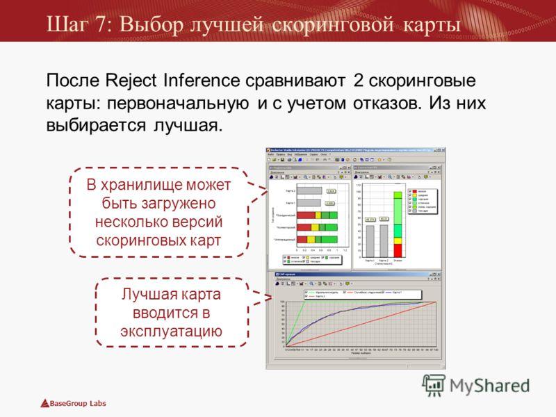 BaseGroup Labs Шаг 7: Выбор лучшей скоринговой карты После Reject Inference сравнивают 2 скоринговые карты: первоначальную и с учетом отказов. Из них выбирается лучшая. Лучшая карта вводится в эксплуатацию В хранилище может быть загружено несколько в