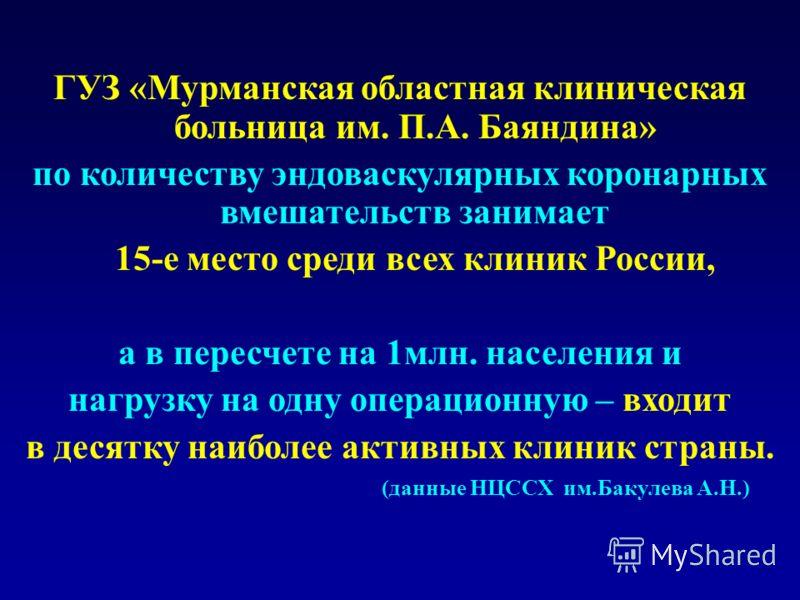 ГУЗ «Мурманская областная клиническая больница им. П.А. Баяндина» по количеству эндоваскулярных коронарных вмешательств занимает 15-е место среди всех клиник России, а в пересчете на 1млн. населения и нагрузку на одну операционную – входит в десятку