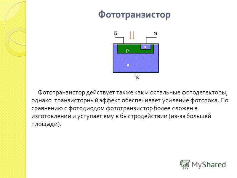 Фототранзистор Фототранзистор действует также как и остальные фотодетекторы, однако транзисторный эффект обеспечивает усиление фототока. По сравнению с фотодиодом фототранзистор более сложен в изготовлении и уступает ему в быстродействии (из-за больш