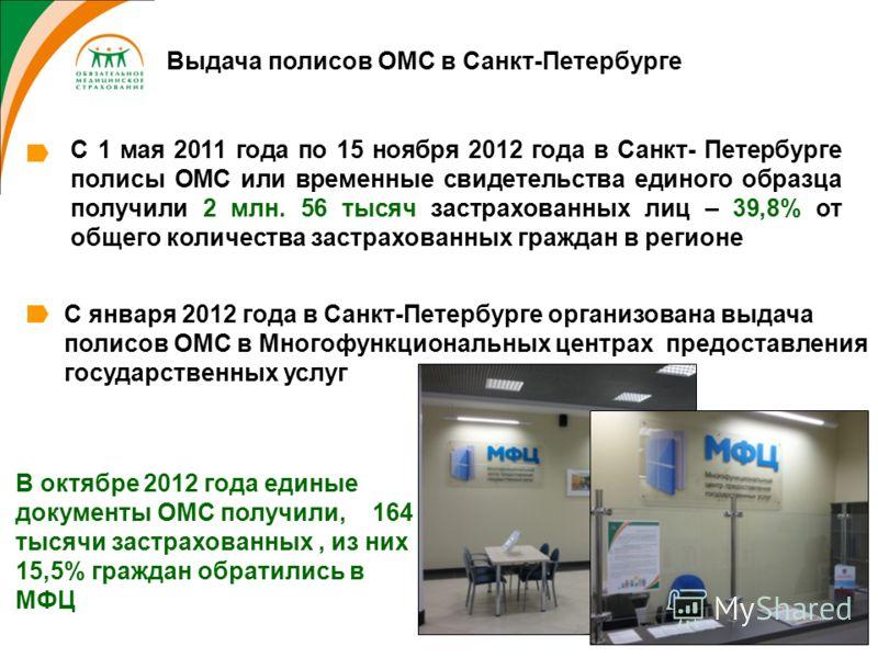 В октябре 2012 года единые документы ОМС получили, 164 тысячи застрахованных, из них 15,5% граждан обратились в МФЦ Выдача полисов ОМС в Санкт-Петербурге С января 2012 года в Санкт-Петербурге организована выдача полисов ОМС в Многофункциональных цент