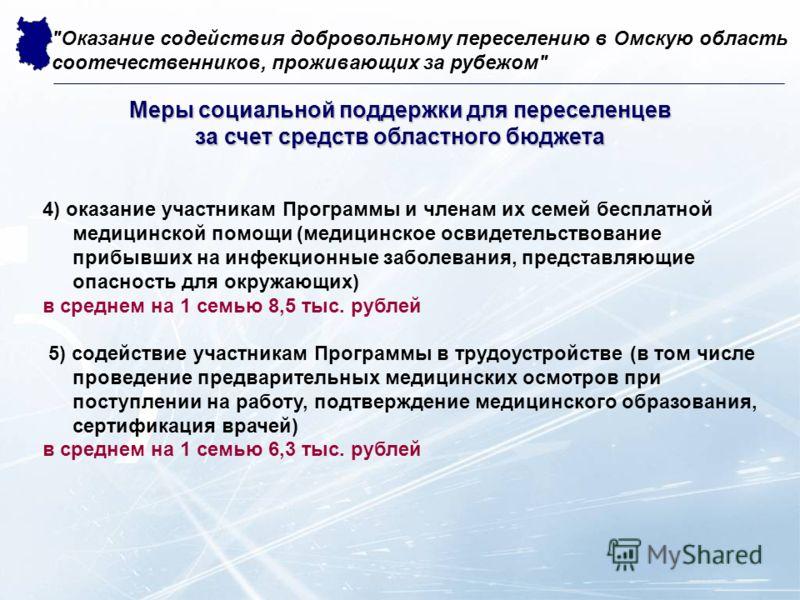 4) оказание участникам Программы и членам их семей бесплатной медицинской помощи (медицинское освидетельствование прибывших на инфекционные заболевания, представляющие опасность для окружающих) в среднем на 1 семью 8,5 тыс. рублей 5) содействие участ