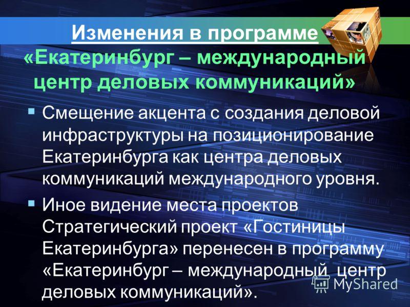 Изменения в программе «Екатеринбург – международный центр деловых коммуникаций» Смещение акцента с создания деловой инфраструктуры на позиционирование Екатеринбурга как центра деловых коммуникаций международного уровня. Иное видение места проектов Ст