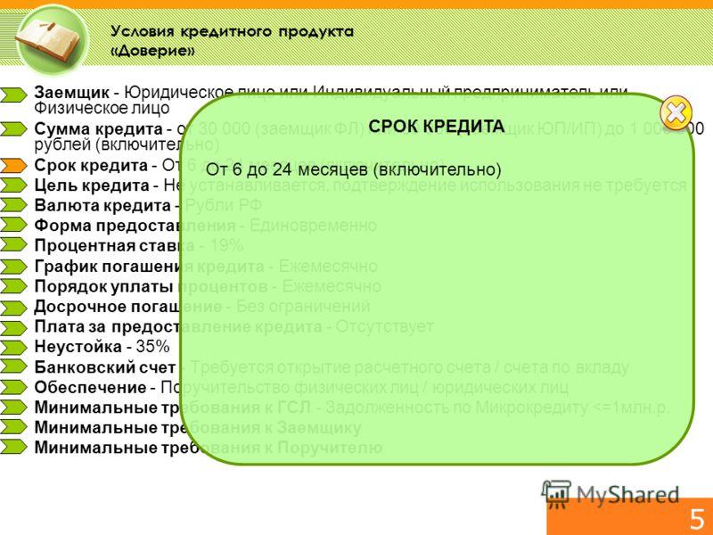 ОБРАЗЕЦ ПРЕЗЕНТАЦИИ Москва, 2009 5 Заемщик - Юридическое лицо или Индивидуальный предприниматель или Физическое лицо Сумма кредита - от 30 000 (заемщик ФЛ) или 80 000 (заемщик ЮП/ИП) до 1 000 000 рублей (включительно) Срок кредита - От 6 до 24 месяце