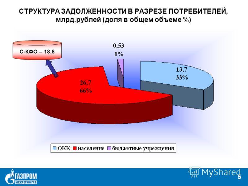5 СТРУКТУРА ЗАДОЛЖЕННОСТИ В РАЗРЕЗЕ ПОТРЕБИТЕЛЕЙ, млрд.рублей (доля в общем объеме %) 5 С-КФО – 18,8