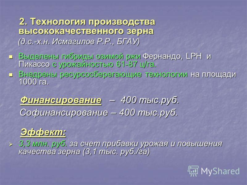 2. Технология производства высококачественного зерна 2. Технология производства высококачественного зерна (д.с.-х.н. Исмагилов Р.Р., БГАУ) (д.с.-х.н. Исмагилов Р.Р., БГАУ) Выделены гибриды озимой ржи Фернандо, LPH и Пикассо с урожайностью 61-87 ц/га.